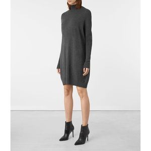 All Saints Granville Dress Grey Wool Cashmere